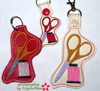 SCISSORS & THREAD KEY FOB Easy to stitch.  - In The Hoop Machine Embroidery