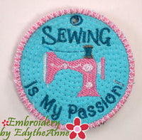SEWING IS MY PASSION KEY TAG. Easy to stitch.  - In The Hoop Machine Embroidery