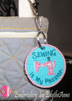 SEWING IS MY PASSION KEY TAG. Easy to stitch.  - Digital Download