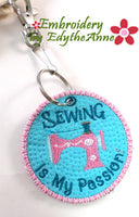 SEWING IS MY PASSION KEY TAG - In The Hoop Machine Embroidery