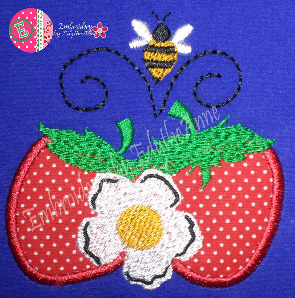 STRAWBERRIES & BEES MACHINE EMBROIDERY DESIGN...Digital Download