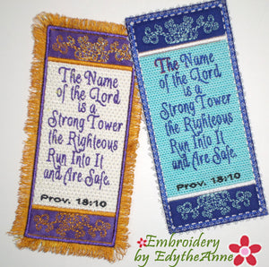 THE NAME OF THE LORD IS A STRONG TOWER -  In The Hoop Bookmark - Digital Download