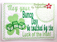 ST PATRICK'S DAY BUNCO MUG MAT.  In The Hoop Embroidered Mug Mats/Mug Rugs - DIGITAL DOWNLOAD
