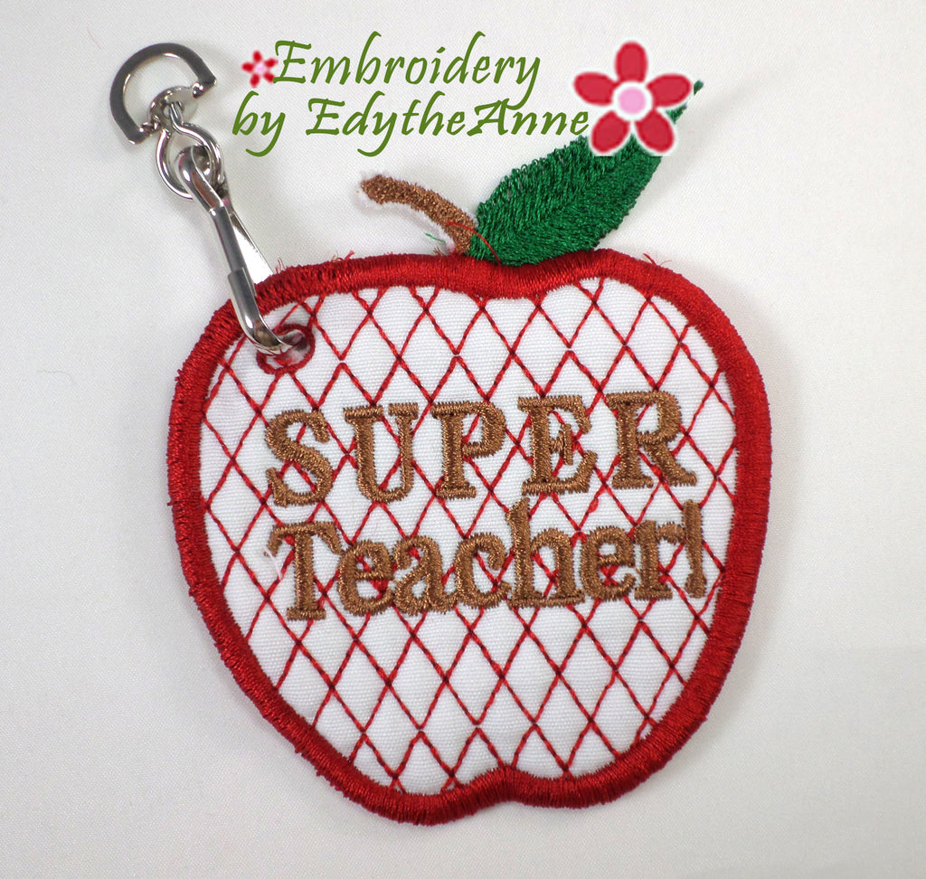 SUPER TEACHER KEY TAG. Easy to stitch.  - Digital Download