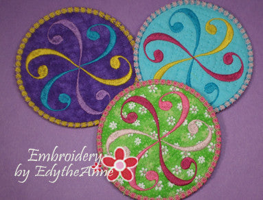 SWIRL COASTER - 2 VERSIONS INCLUDED- IN THE HOOP MACHINE EMBROIDERY - Embroidery by EdytheAnne - 1