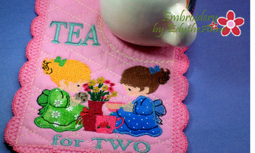 TEA FOR TWO MUG MAT Available in two sizes. INSTANT DOWNLOAD - Embroidery by EdytheAnne - 1