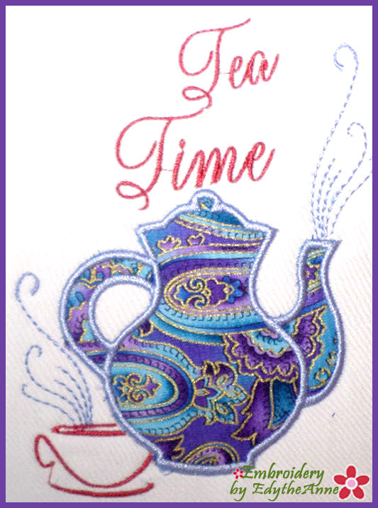TEA TIME APPLIQUE Machine Embroidery Design - Digital Download