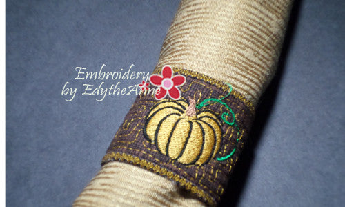 FALL/THANKSGIVING NAPKIN RING In The Hoop - Instant Download - Embroidery by EdytheAnne - 1