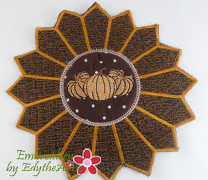 Fall or Thanksgiving Trivet In The Hoop Machine Embroidery