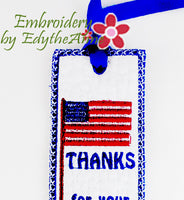 THANKS FOR YOUR SERVICE BOOK MARK In The Hoop Digital File.
