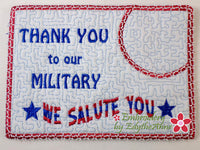 THANK YOU TO OUR MILITARY In The Hoop Mug Mat/Mug Rug   Digital Download.