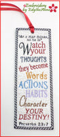 OUR THOUGHTS BOOK MARK In The Hoop-  Digital File.