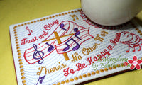 TRUST AND OBEY FAITH BASED Mug Mat/Mug Rug - 2 Sizes Included - INSTANT DOWNLOAD - Embroidery by EdytheAnne - 2
