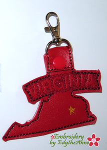 VIRGINIA STATE KEY FOB Easy to stitch.  - In The Hoop Machine Embroidery