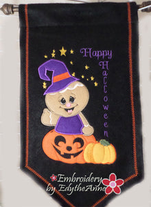 GINGERBREAD PUMPKIN  WALL or DOOR HANGER In The Hoop Machine Embroidery