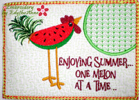 CHICKEN SALAD MUG MAT- Watermelon Machine Embroidery Design - Digital Download
