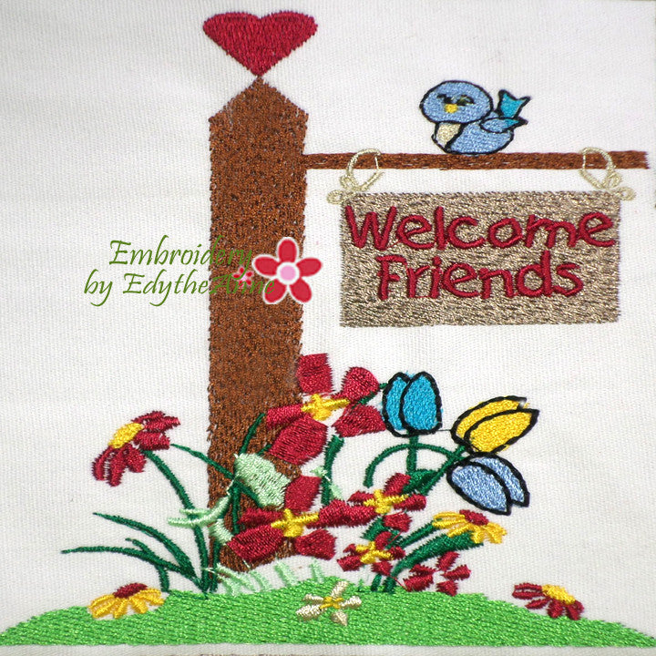 WELCOME FRIENDS - MACHINE EMBROIDERY DESIGN - DIGITAL DOWNLOAD