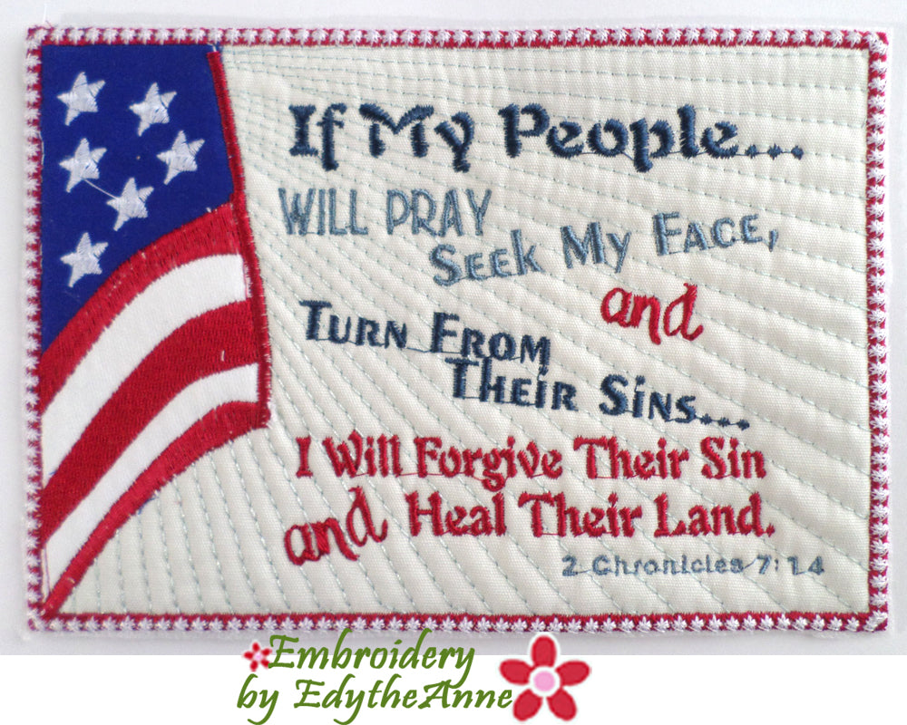 IF MY PEOPLE Faith Based In The Hoop Mug Mat/Mug Rug   Digital Download