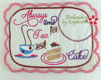 ALWAYS TIME FOR TEA... In The Hoop Embroidered Mug Mats/Mug Rugs.  Digital Download