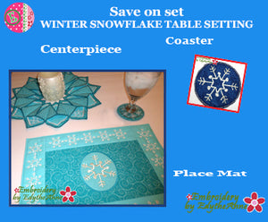 WINTER SNOWFLAKE TABLE SETTING-In The Hoop Machine Embroidery