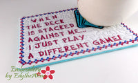 CARD GAMES  In The Hoop Embroidered Mug Mat/Mug Rug.  Digital File. Available immediately.