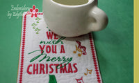 "CHRISTMAS GREETING ""CARD"" SET  In The Hoop Machine Embroidery Mug Mat/Mug Rug"