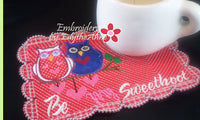 Be My SweetHoot Valentine Mug Mat/Mug Rug 2 Versions. 2 Sizes - INSTANT DOWNOAD - Embroidery by EdytheAnne - 2