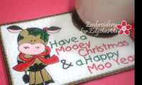 HAVE A MOOEY CHRISTMAS In The Hoop Embroidered Mug Mat Design - Instant Download