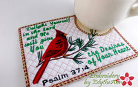 Set 2 - BIRDS OF THE AIR In The Hoop Faith Based Embroidered Mug Mats/Mug Rugs-Digital Download