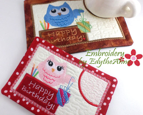 Owl Themed Mini Placemat Whimsical Owl Quilted Mug Rug