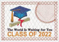 THE WORLD IS WAITING GRADUATE  In The Hoop Machine Embroidered Mug Mat/Mug Rug.