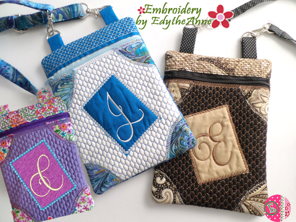 MONOGRAM CROSS BODY BAG - In The Hoop Machine Embroidery Design