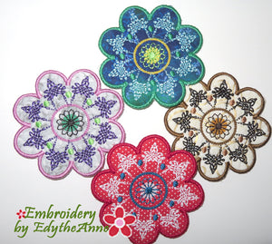 FLEUR COASTERS- In The Hoop Machine Embroidery