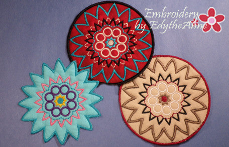 COLOR PLAY COASTER - 2 VERSIONS INCLUDED- IN THE HOOP MACHINE EMBROIDERY - Embroidery by EdytheAnne - 1