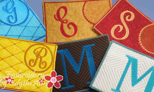 MONOGRAM MUG MATS Version 1, 2 & 3! 3 Sets of 26 each - INSTANT DOWNLOAD - Embroidery by EdytheAnne - 1