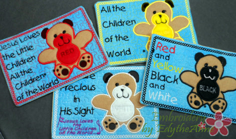 JESUS LOVES THE LITTLE CHILDREN.. In The Hoop Four Piece Drink Mats- DIGITAL DOWNLOAD