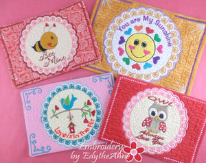 VALENTINE REVERSE APPLIQUE  Mug Mats/Mug Rugs - 2 Sizes Available- DIGITAL DOWNLOAD