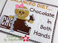 BALANCED DIET...CHOCOLATE IN BOTH HANDS In The Hoop Whimsical Embroidered Mug Mats/Mug Rugs-Digital Download