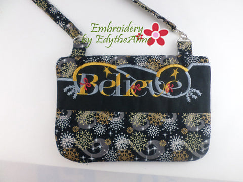 CHRISTMAS BELIEVE In The Hoop Bag - Digital Download -