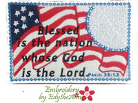 BLESSED IS the NATION In The Hoop Mug Mat/Mug Rug   Digital files.