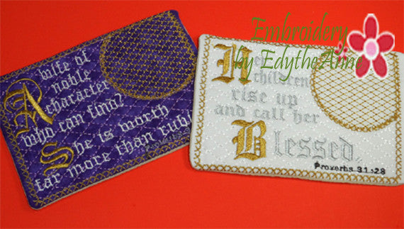 The  PROVERBS 31 WOMAN Mug Mats Version 1 In The Hoop Embroidered Mug Mat Set of Two designs.  -  Instant Download - Embroidery by EdytheAnne - 1