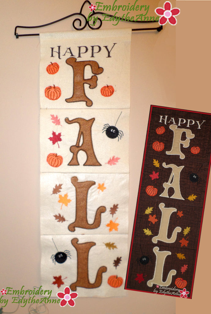 HAPPY FALL DOOR OR WALL HANGING - In The Hoop Machine Embroidery