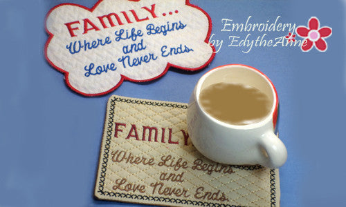 FAMILY..Where Life Begins... In The Hoop Embroidered Mug Mats/Mug Rugs. Two piece set. Digital File.Available immediately. - Embroidery by EdytheAnne - 1