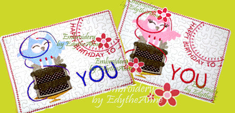 HAPPY BIRTHDAY TO YOU...In The Hoop Embroidered Mug Mat/Mug Rug Design.   - Digital File - Instant Download - Embroidery by EdytheAnne - 1