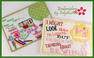 I LOVE SEWING! SAVE 30% WITH PURCHASE OF SET!   In The Hoop Whimsical Sewing Mug Mats/Mug Rugs  - Digital File