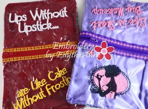 COSMETIC ZIPPERED SEE THROUGH BAGS-Set of 2 Completed In The Hoop Machine Embroidery - Instant Download