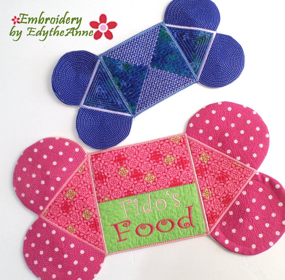 PET'S FOOD MAT In The Hoop Embroidery Designs- Digital Downloads