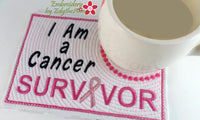 CANCER SURVIVOR IN THE HOOP MUG MAT/MUG RUG. Available in two sizes. DIGITAL DOWNLOAD