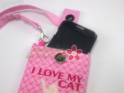 I LOVE MY CAT  PHONE CARRIER- IN THE HOOP - Instant Download