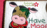 HAVE A MOOEY CHRISTMAS In The Hoop Embroidered Mug Mat Design - Instant Download - Embroidery by EdytheAnne - 4